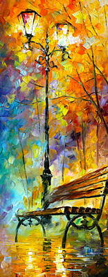 Park Benches Painting - Aura Of Autumn 2 by Leonid Afremov