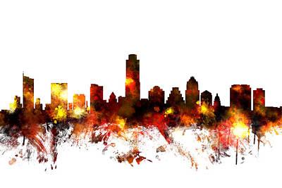 Austin Texas Digital Art - Austin Texas Skyline by Michael Tompsett