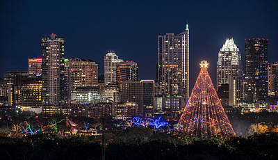 Austin Skyline Photograph - Austin Zilker Christmas Tree by Tod and Cynthia Grubbs