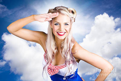 Youthful Photograph - Australian Navy Girl Saluting Australia Day by Jorgo Photography - Wall Art Gallery