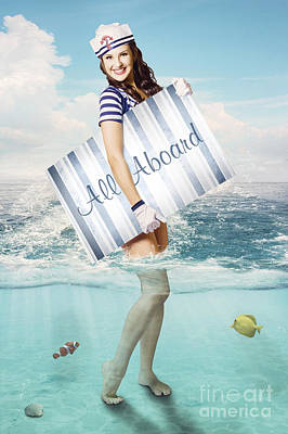 Australian Sailor Pin-up Woman Holding Sign Board Print by Jorgo Photography - Wall Art Gallery