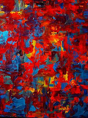 Blue And Red Painting - Autumn At Night Triptych by Holly Anderson
