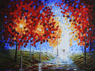 Autumn Beauty Original Palette Knife Painting Print by Georgeta Blanaru