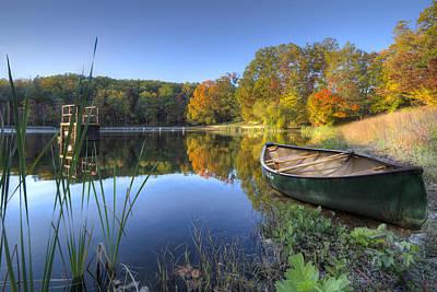 Autumn Lake Print by Debra and Dave Vanderlaan