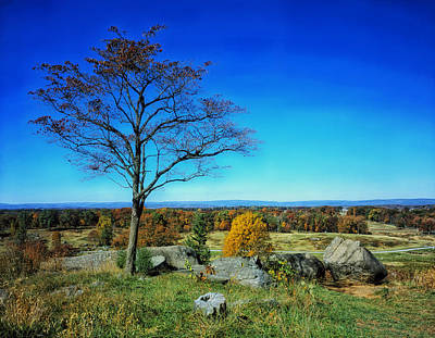 Autumn View On Little Round Top - Gettysburg Print by Mountain Dreams