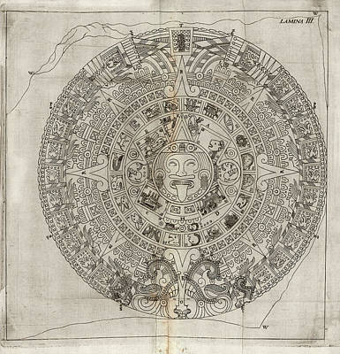 The Sun God Photograph - Aztec Calendar Stone by Library Of Congress