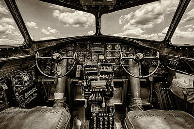 North American Print featuring the photograph Cockpit Of A B-17 by Mike Burgquist