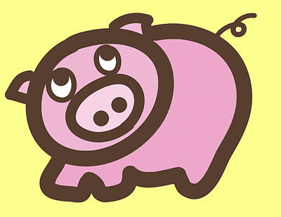 Baby Pig Art For The Nursery Print by Nursery Art