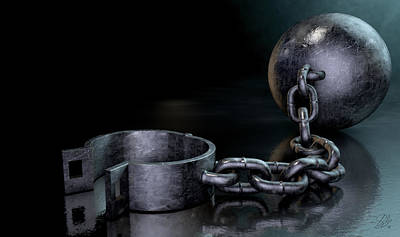 Restrained Digital Art - Ball And Chain Dark by Allan Swart