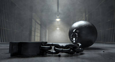 Restrained Digital Art - Ball And Chain In Prison by Allan Swart