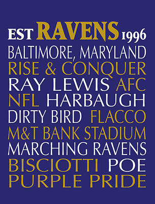 Subway Art Digital Art - Baltimore Ravens by Jaime Friedman