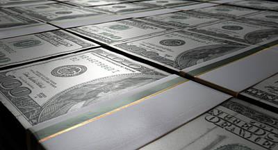 Macro Digital Art - Banknote Pile Reserve by Allan Swart