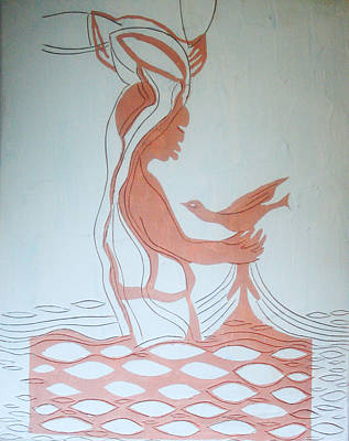 African Contemporary Ceramics Painting - Baptism Of The Lord Jesus by Gloria Ssali