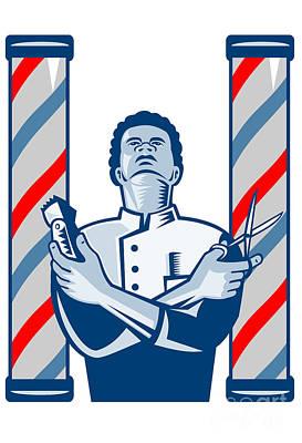 Barber With Pole Hair Clipper And Scissors Retro Print by Aloysius Patrimonio