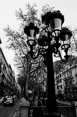 Barcelona - La Rambla Bw Print by Andrea Mazzocchetti
