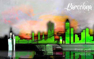 Barcelona Mixed Media - Barcelona Spain Skyline Watercolor by Marvin Blaine