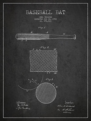Baseball Bat Patent Drawing From 1904 Print by Aged Pixel