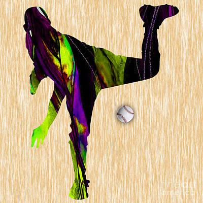 Baseball Pitcher Print by Marvin Blaine