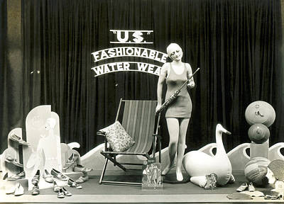 Swimsuit Photograph - Bathing Suits Store Display by Underwood Archives