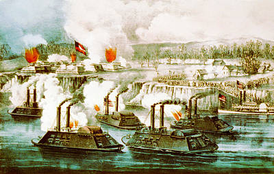 Battle Of Fort Hindman Print by Currier and Ives