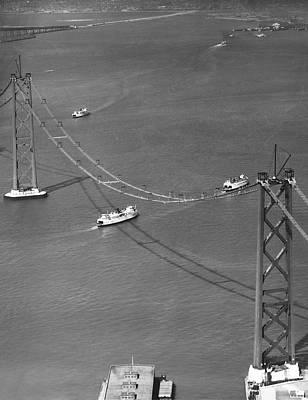 Bay Bridge Under Construction Print by Charles Hiller