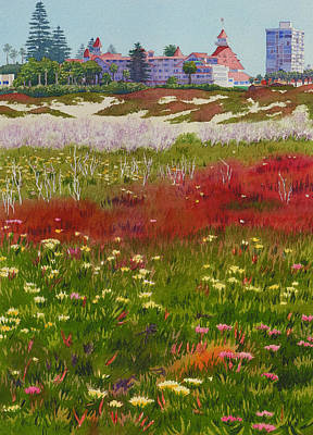 Historic Buildings Painting - Beach Flowers At The Del by Mary Helmreich