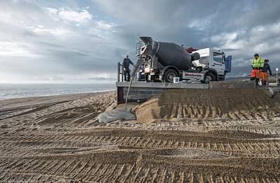 Winter Storm Photograph - Beach Repair by Robert Brook