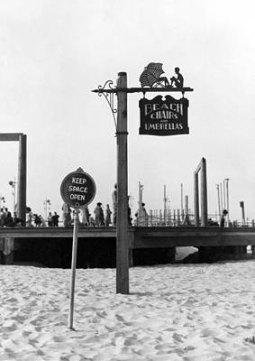 Beach Signs In New York Print by Underwood Archives