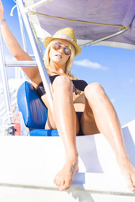 Beautiful Blond Female Tourist On Sightseeing Tour Print by Jorgo Photography - Wall Art Gallery