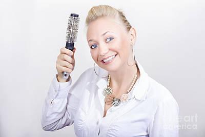 Beautiful Blond Hairdresser In Salon Studio Print by Jorgo Photography - Wall Art Gallery