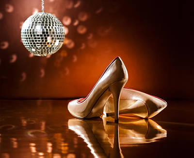 Sexy Soles Photograph - Beautiful Brown Stilettos On The Dance Floor by Ulrich Schade