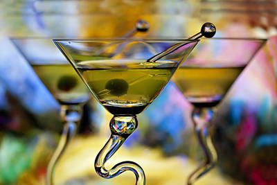 Beautiful Colorful Martini Glasses Print by Judy Kennamer
