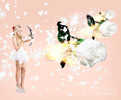 Beautiful Cupid Woman Firing Romance Arrows Print by Jorgo Photography - Wall Art Gallery