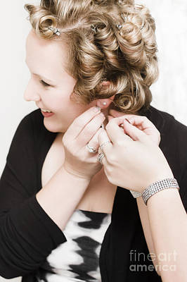 Beautiful Happy Bride Putting On Earrings Print by Jorgo Photography - Wall Art Gallery