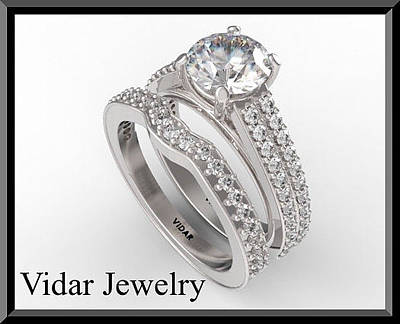 Vidar Jewelry Jewelry - Beautiful Moissanite And Diamond 14k White Gold Wedding Ring Set by Roi Avidar
