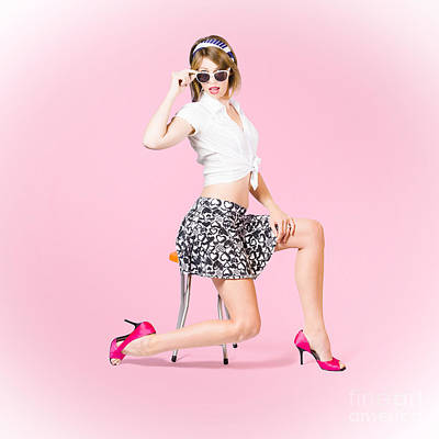 Beautiful Pinup Girl With Beauty Hair And Make-up Print by Jorgo Photography - Wall Art Gallery