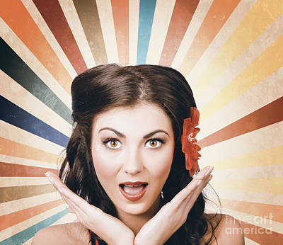 Beautiful Retro Brunette Girl With Surprised Look Print by Jorgo Photography - Wall Art Gallery