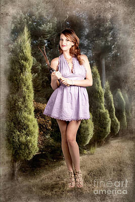 Beautiful Retro Maid With Hedge Clippers In Garden Print by Jorgo Photography - Wall Art Gallery