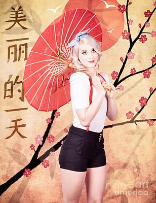 Beautiful Woman Celebrating The Chinese New Year Print by Jorgo Photography - Wall Art Gallery