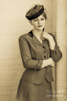 1940s Photograph - Beautiful Woman In Vintage Forties Clothing by Diane Diederich