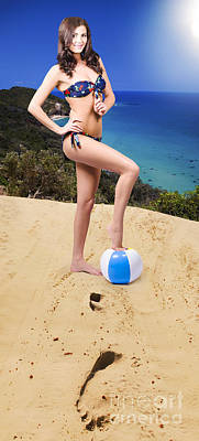 Volleyball Photograph - Beautiful Woman Relaxing At The Beach by Jorgo Photography - Wall Art Gallery