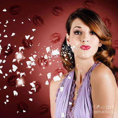 Beautiful Young Girl In Love Blowing Lipstick Kiss Print by Jorgo Photography - Wall Art Gallery