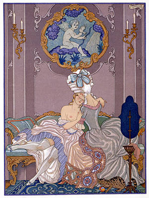 Lesbian Painting - Bedroom Scene by Georges Barbier