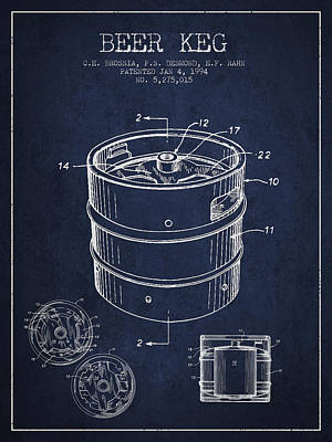 Beer Keg Patent Drawing - Green Print by Aged Pixel