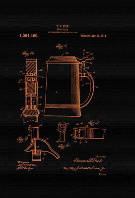 Beer Stein Patent - 1914 Print by Mountain Dreams
