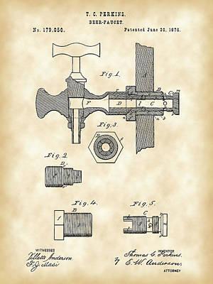Faucet Digital Art - Beer Tap Patent 1876 - Vintage by Stephen Younts