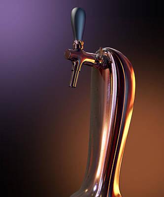 Faucet Digital Art - Beer Tap Single Moody by Allan Swart