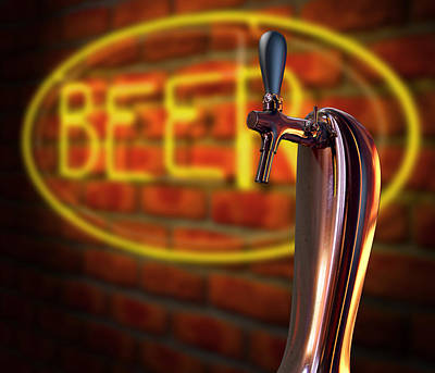 Beer Tap Single With Neon Sign Print by Allan Swart