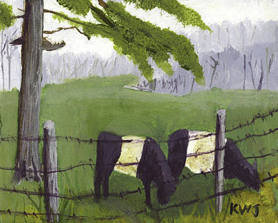 Maine Meadow Painting - Belted Galloway Cows In Rockport Maine by Keith Webber Jr