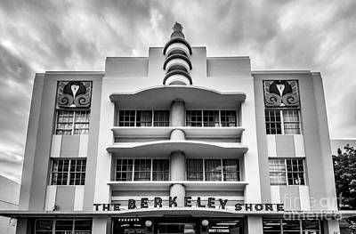 Berkeley Shores Hotel  2 - South Beach - Miami - Florida - Black And White Print by Ian Monk